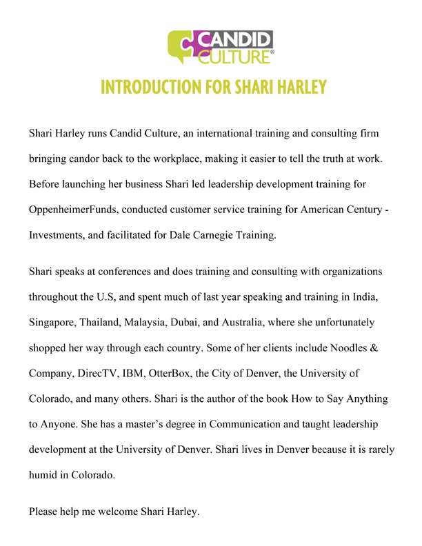 Shari Harley Introduction