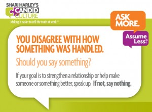 You disagree with how something was handled. Should you say something?